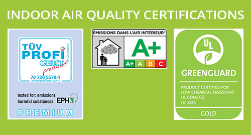 WISE by Amorim Indoor Air Quality Certifications: Greenguard GOLD, TÜV PREMIUM, French Certification A+