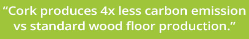 Cork produces 4 times less carbon emissions versus standard wood floor production.