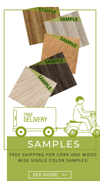 Free Shipping for Cork and Wood WISE cork flooring samples.