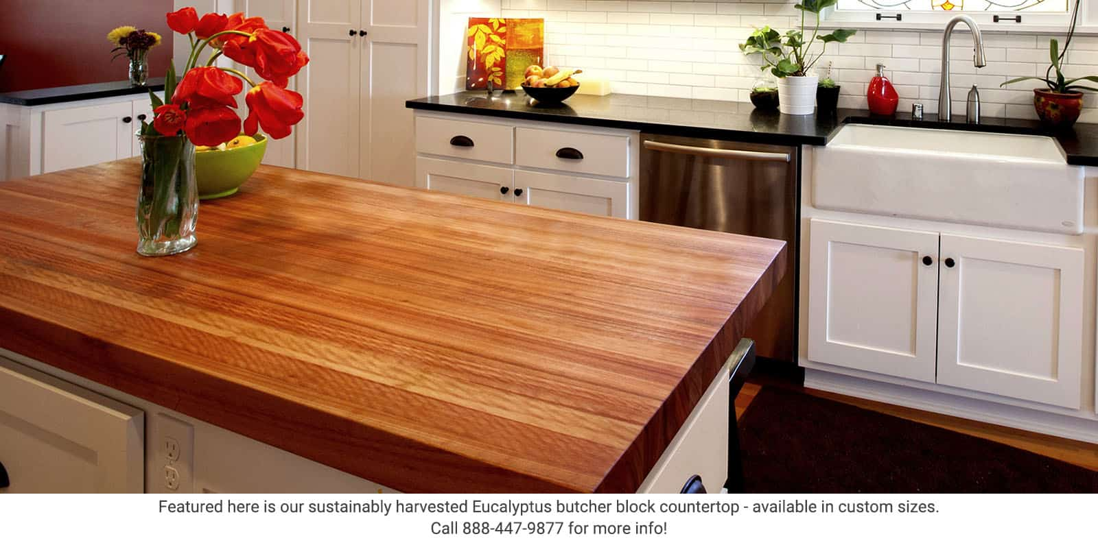 Featured here is our sustainably harvested Eucalyptus butcher block countertop - available in custom sizes at Greenhome Solutions.