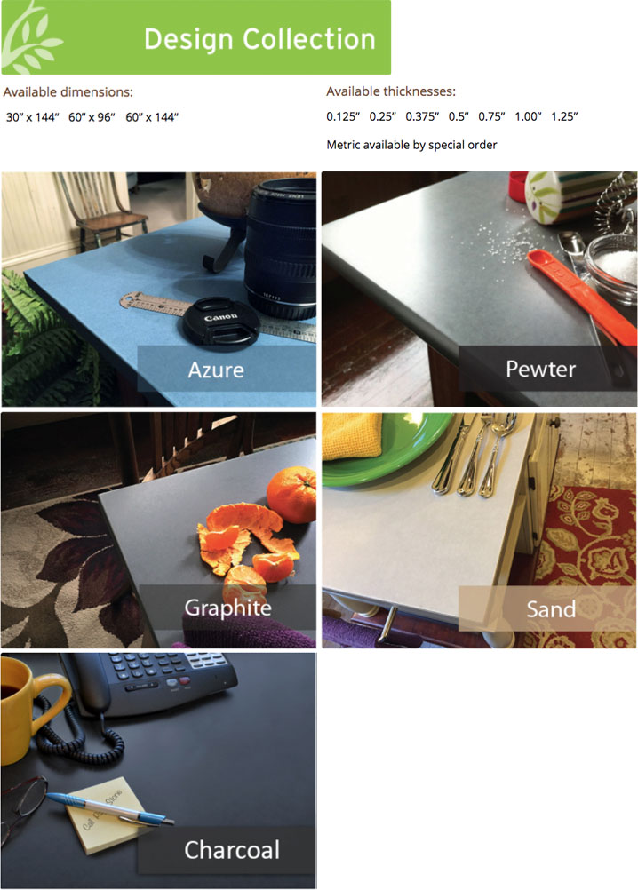 Designer Colors shown in Azure, Charcoal, Graphite, Pewter and Sand