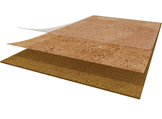 Wicanders Cork PURE Glue Down cork flooring is comprised of two layers of cork: a quality core layer of cork and  a genuine cork veneer layer. A strong protective surface is then applied.