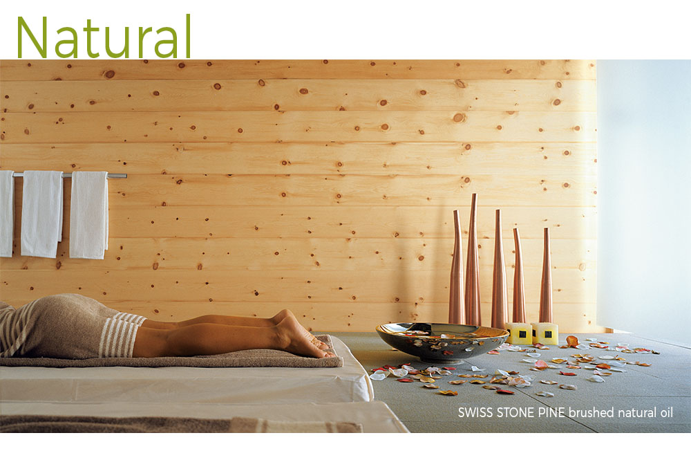 mafi Swiss Stone Pine brushed natural oiled wood shown in a wall application in a natural spa setting