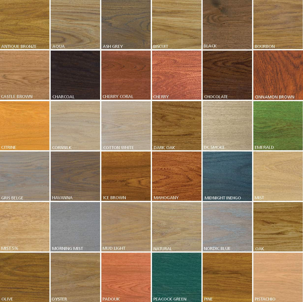 Rubio Monocoat Oil Color Samples