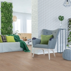 Cork WISE by Amorim - a revolutionary new Waterproof Cork Flooring in a Floating Format - Fashionable Cement (Room View)