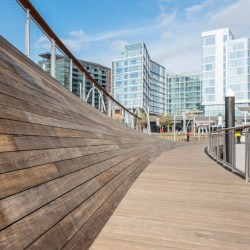 Kebony Clear Decking featured in The Wharf, a commercial and residential development in Washington, DC along the Potomac River.
