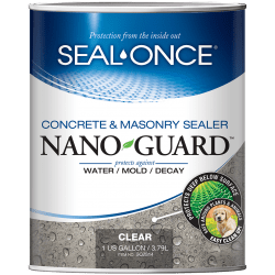 Seal Once Concrete and Masonry Waterproofer with NANO GUARD to protect against water / mold / decay.