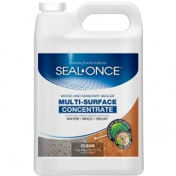 Seal Once Multi Surface Concentrate with NANO GUARD protects wood and masonry products from water damage