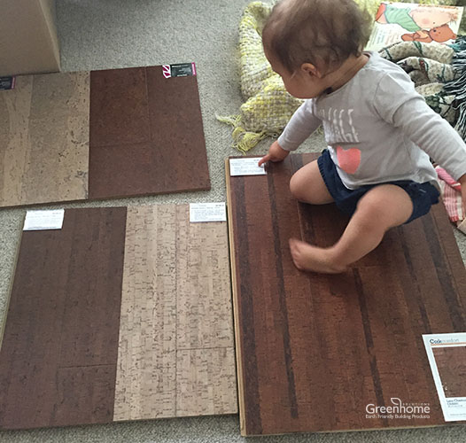Elina Picking out Cork Flooring Samples | Greenhome Solutions