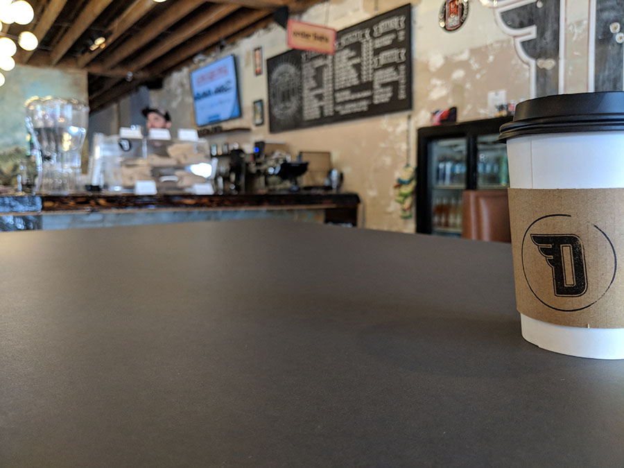 Not just for countertops, PaperStone can be used for a variety of applications, like this coffee shop tabletop. Photo courtesy of PaperStone®
