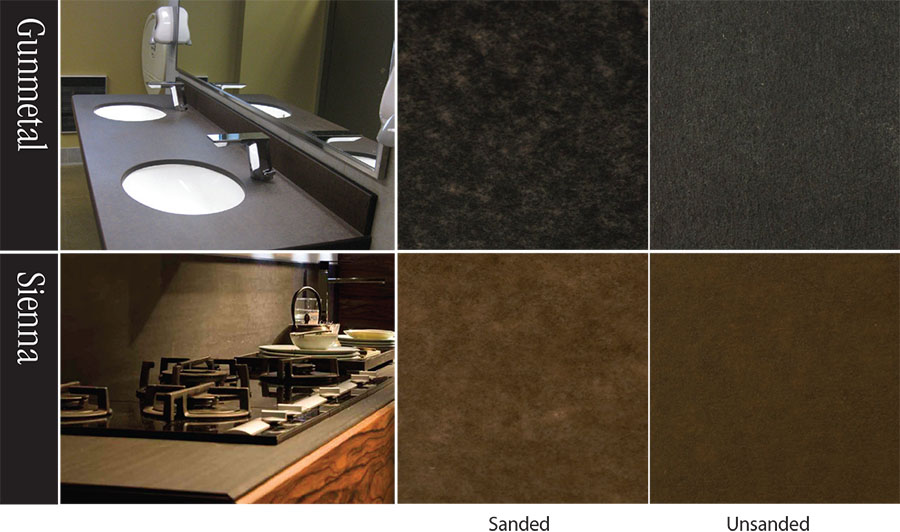 Finishing of PaperStone – Should you Buff or Sand? Sanding effectively removes the textured surface giving the slabs a smooth, more mottled appearance. But note that oversanding can create an extremely mottled pattern, which is especially noticeable in the Gunmetal and Sienna colors.