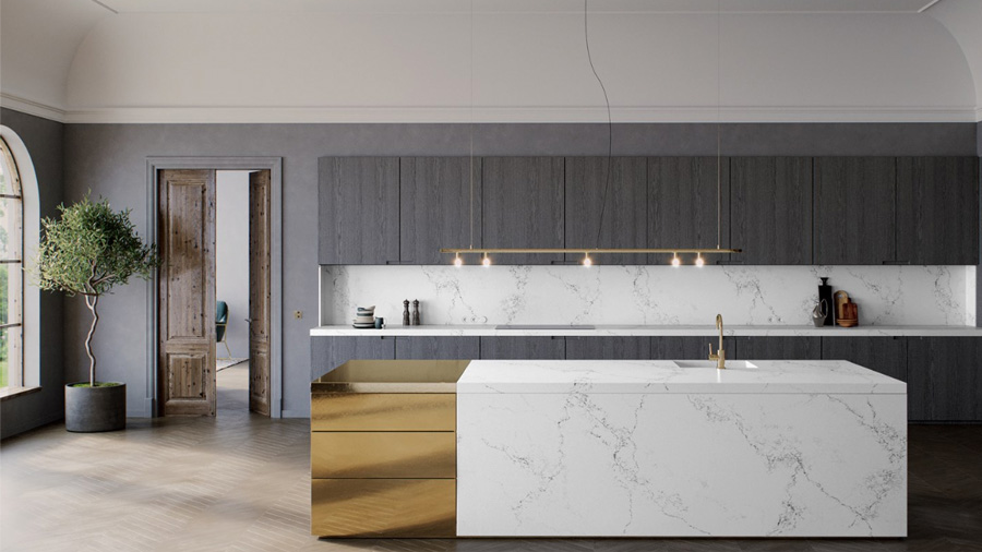 Empira White is new to the Supernatural Collection of Caesarstone Quartz Surfaces and resembles polished marble. Photo courtesy of Caesarstone,