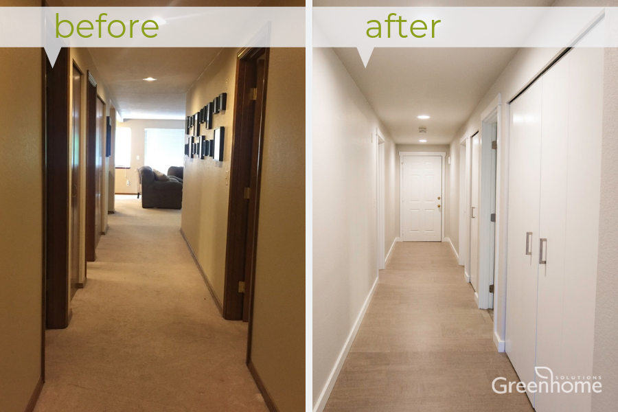 The condo hallway was completely transformed into a brighter space with a coat of healthy, low-VOC paint on the walls, doors and trim, along with updated style of cork flooring in a lighter hue.